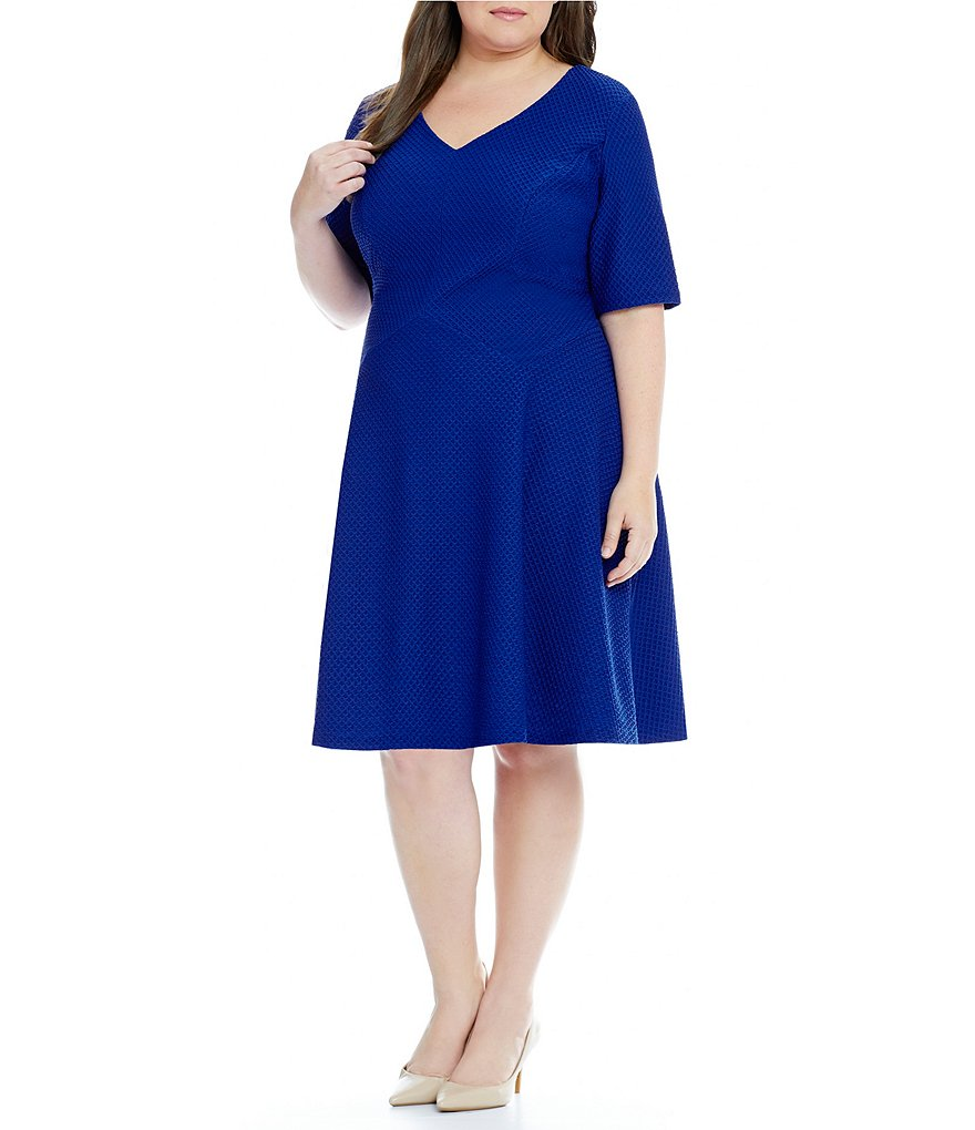 London Times Plus Elbow-Sleeve Fit-and-Flare Dress