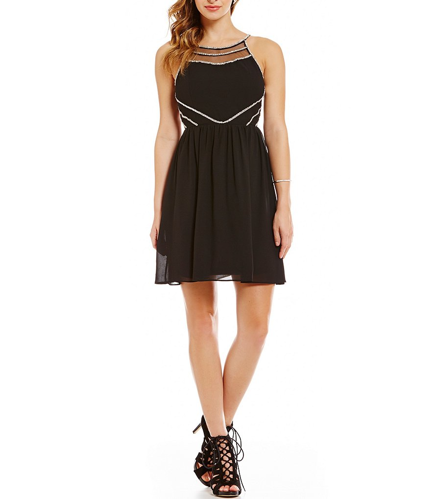 GB Embellished High Neck Fit-and-Flare Dress