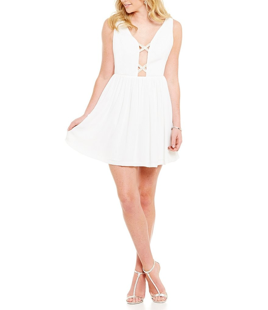 GB Embellished Lattice Deep V-Neck Fit-and-Flare Dress