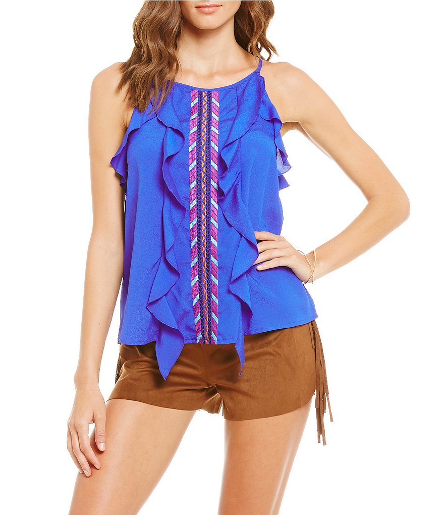 GB Embroidered Ruffle Tank