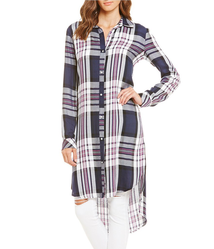 GB Button-Up Plaid Tunic