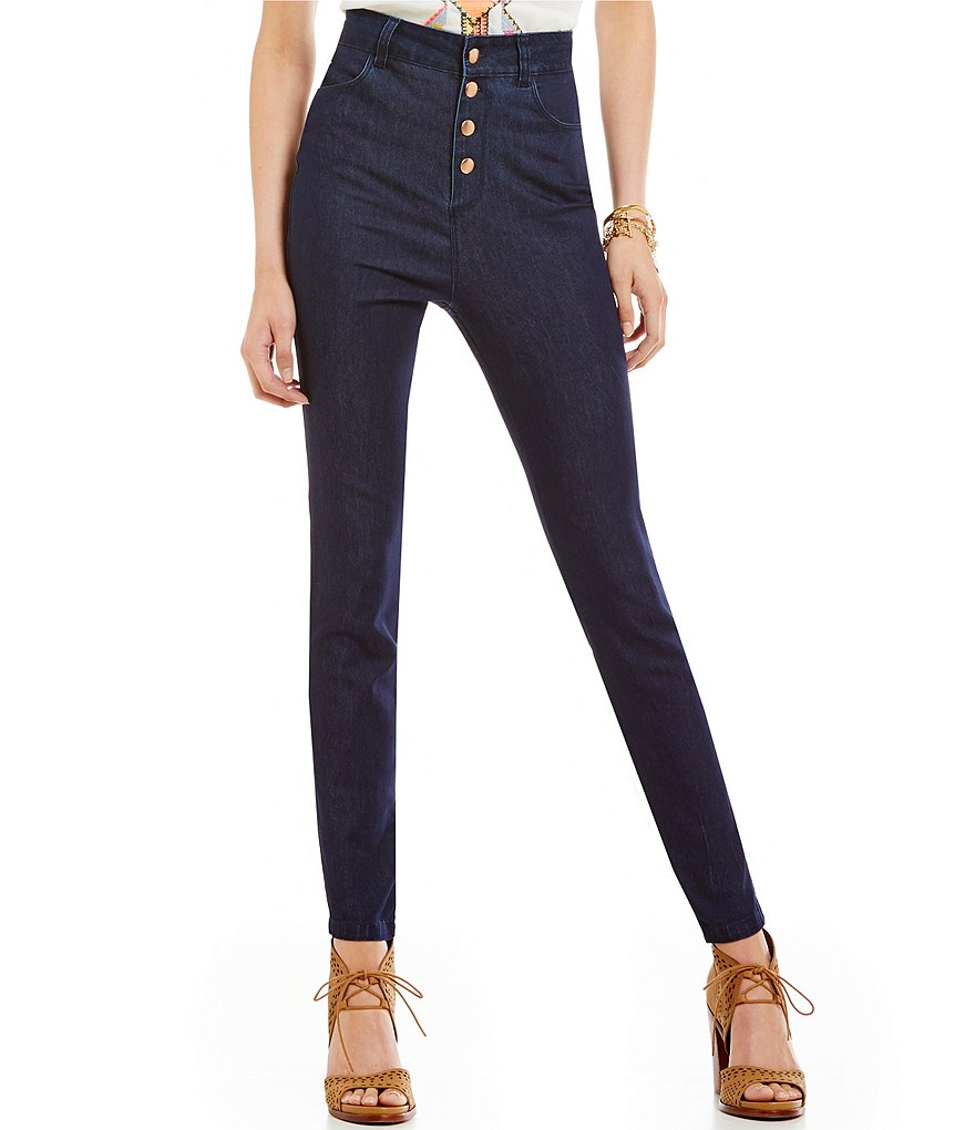 GB High-Waist Button Up Skinny Jeans