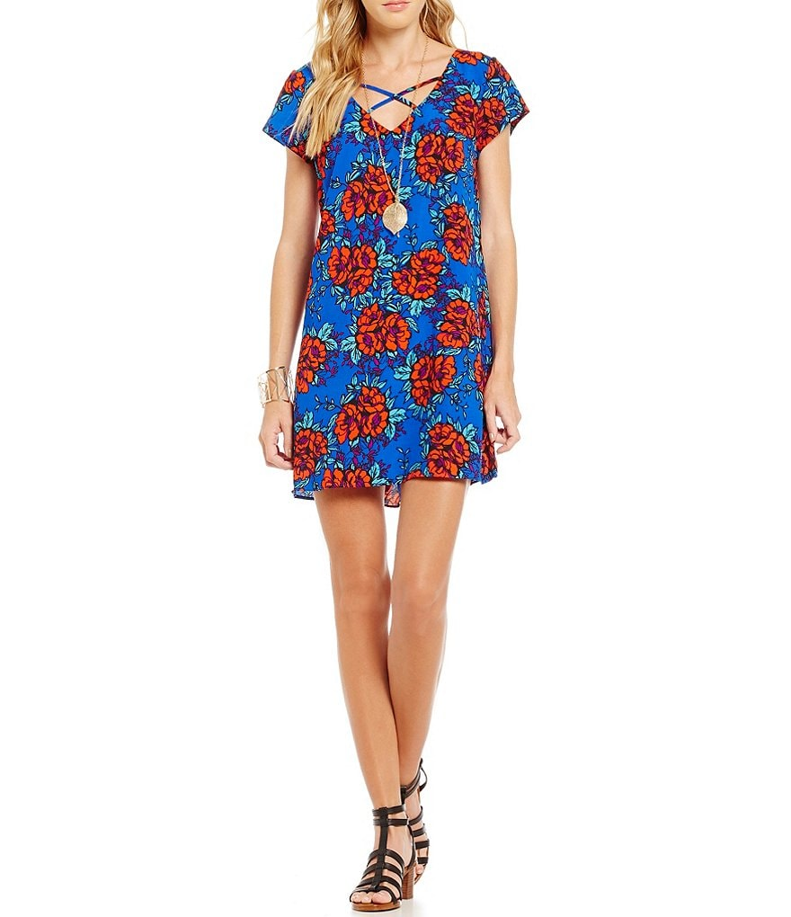 GB Floral Printed Trapeze Dress