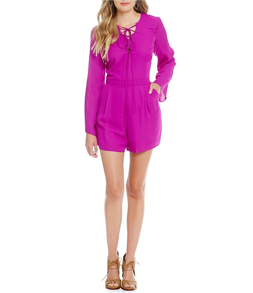 GB Lace-Up Bell Sleeve Romper