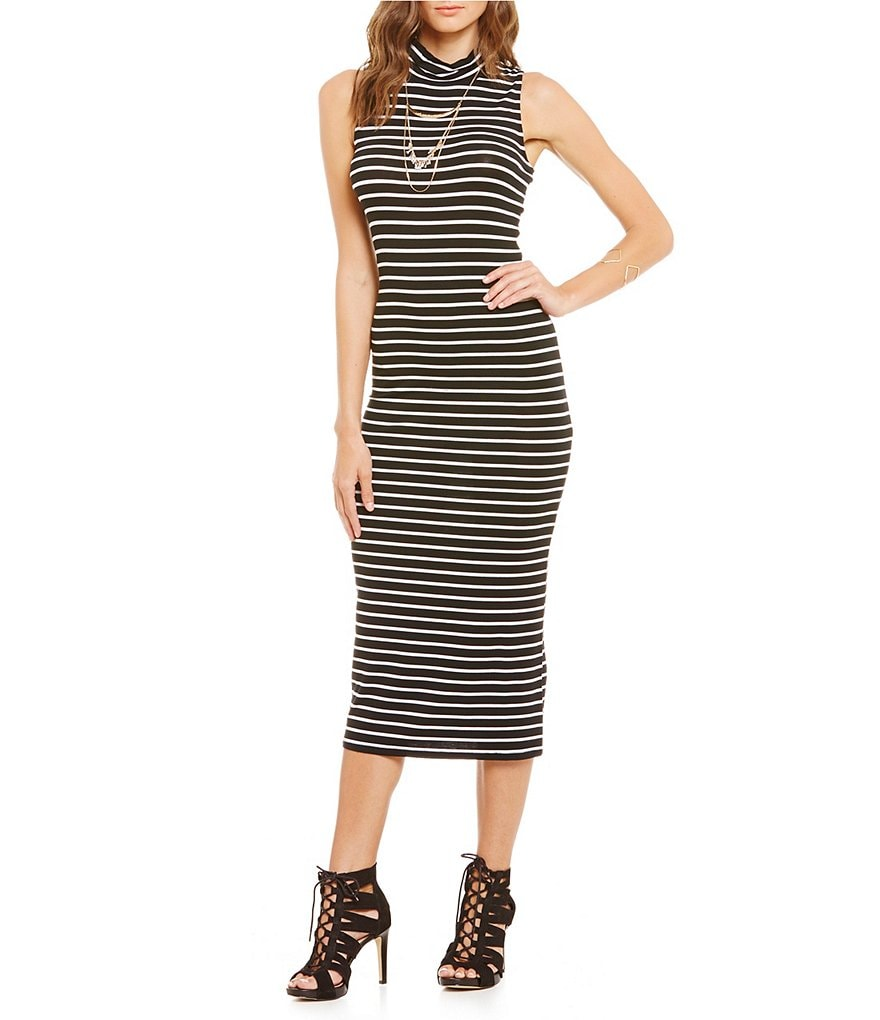GB Striped Knit Mock Neck Bodycon Midi Dress