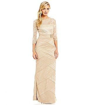 Emma Street Embroidered Mock 2-Piece Taffeta Gown