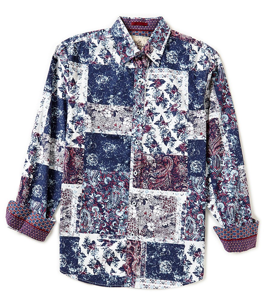 Age Of Wisdom Long-Sleeve Leaf Piece-Print Woven Shirt