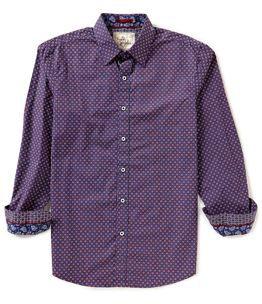 Age Of Wisdom Long-Sleeve Repeating Box Print Woven Shirt