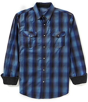 Age of Wisdom Long-Sleeve Ombré Buffalo Check Woven Shirt