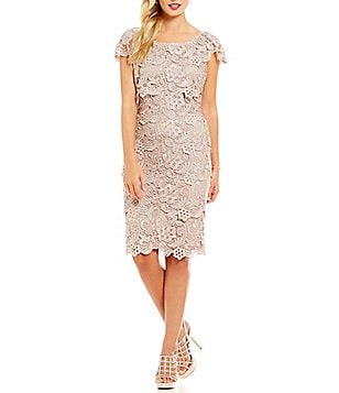 Emma Street Cap-Sleeve Tiered Lace Sheath Dress
