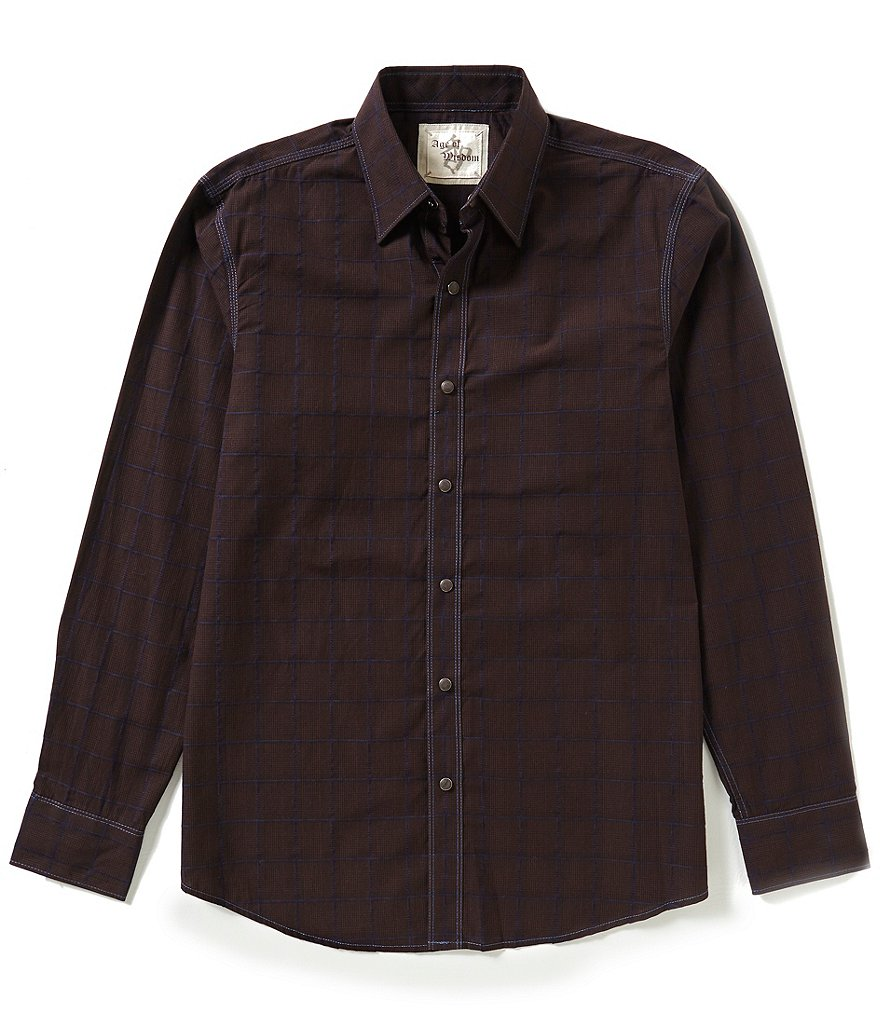 Age of Wisdom Long-Sleeve Glen Plaid Woven Shirt