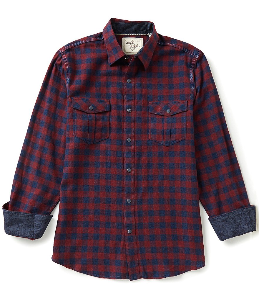 Age of Wisdom Long-Sleeve Buffalo Check Woven Shirt