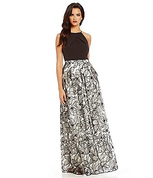 Aidan Aidan Mattox Crepe Halter Neck Embroidered Gown