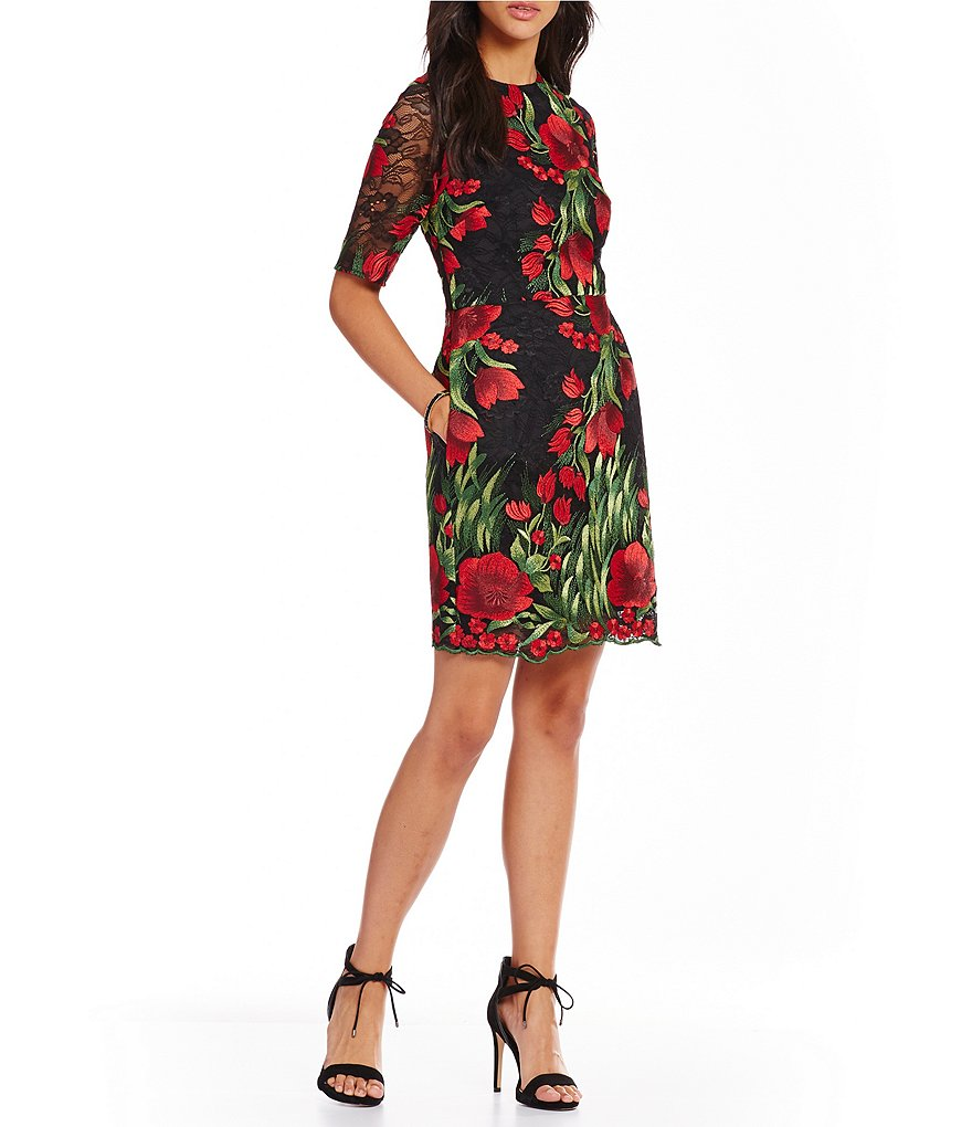 Aidan Aidan Mattox Embroidered Floral Lace Cocktail Dress