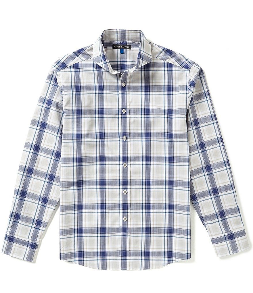 Vince Camuto Plaid Dobby Slim-Fit Long-Sleeve Shirt