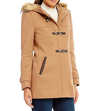 Cole Haan Signature Wool Twill Faux-Fur Trim Hood Duffel Coat