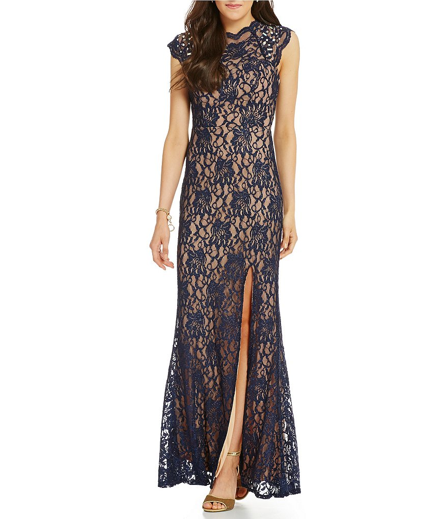 Jodi Kristopher Jeweled Shoulders Lace Long Dress