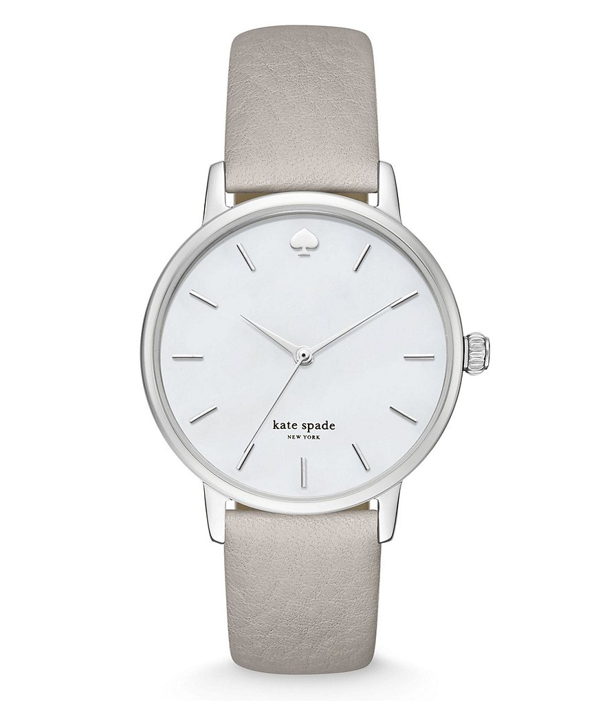kate spade new york Metro Mother-of-Pearl Analog Leather-Strap Watch