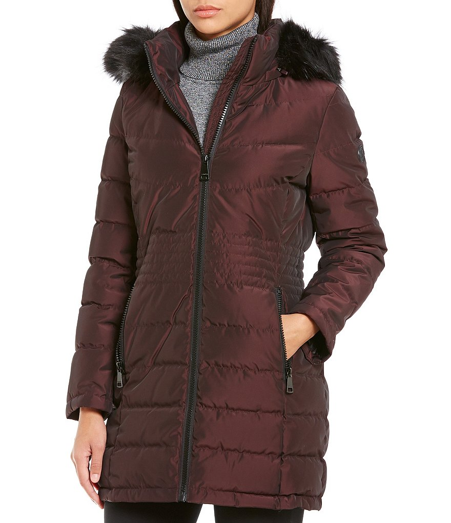Calvin Klein Traditional Down Faux Fur-Trim Walker Coat