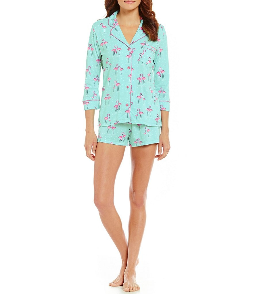 PJ Salvage Dotted Flamingo-Print Jersey Pajamas