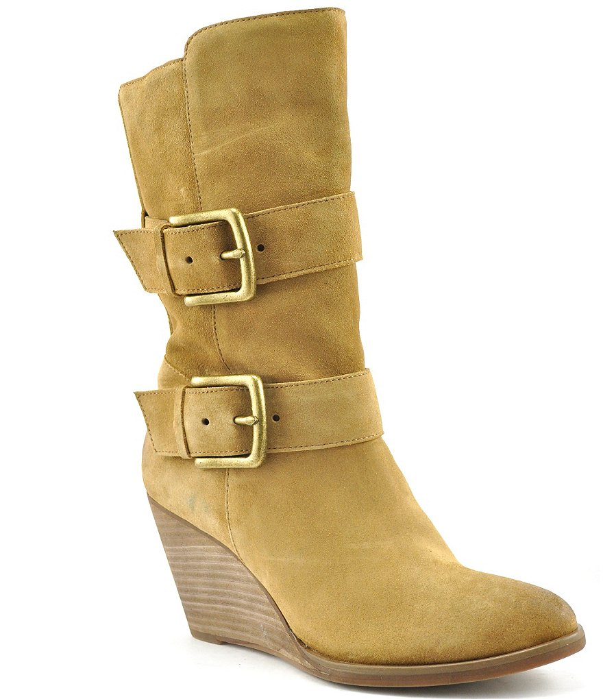 Volatile Lars Suede Double Buckle Strap Wedge Mid Calf Boots