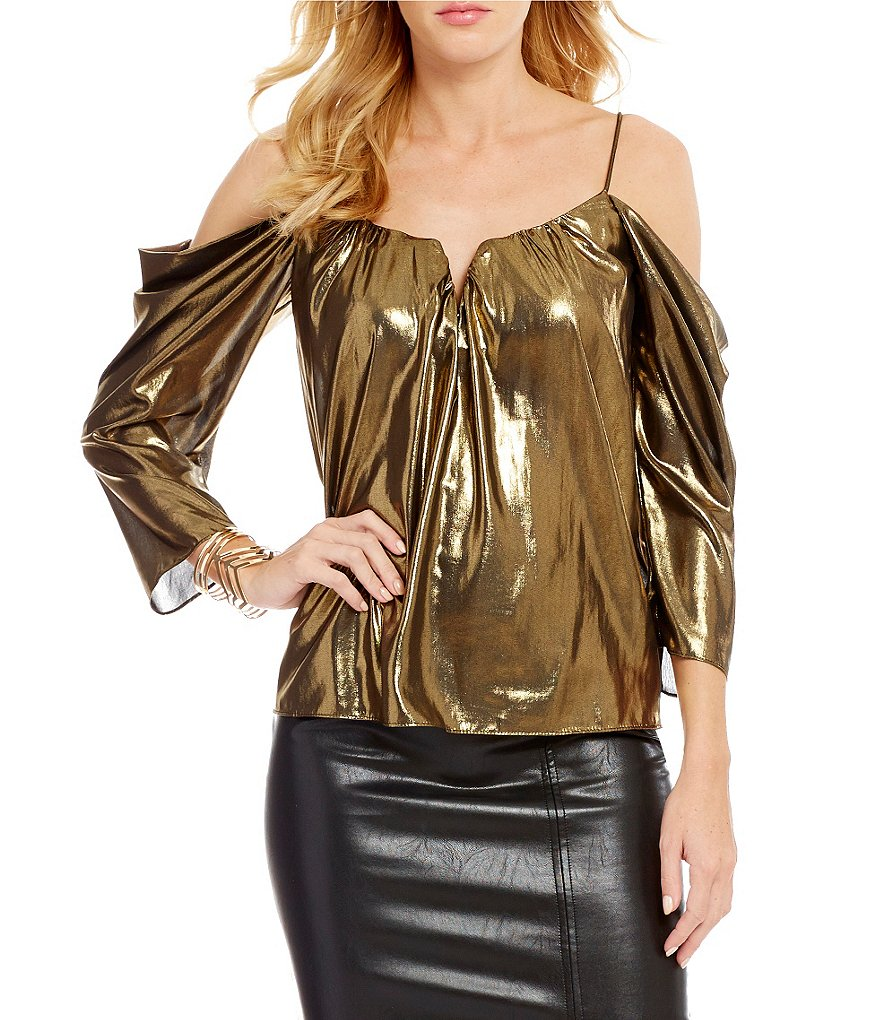 Nicole Miller Artelier Disco Schuler Cold-Shoulder Metallic Top
