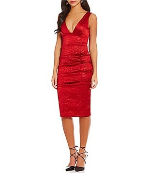 Nicole Miller Artelier Crinkle Plunge Tuck Plunging V-Neck Satin Dress