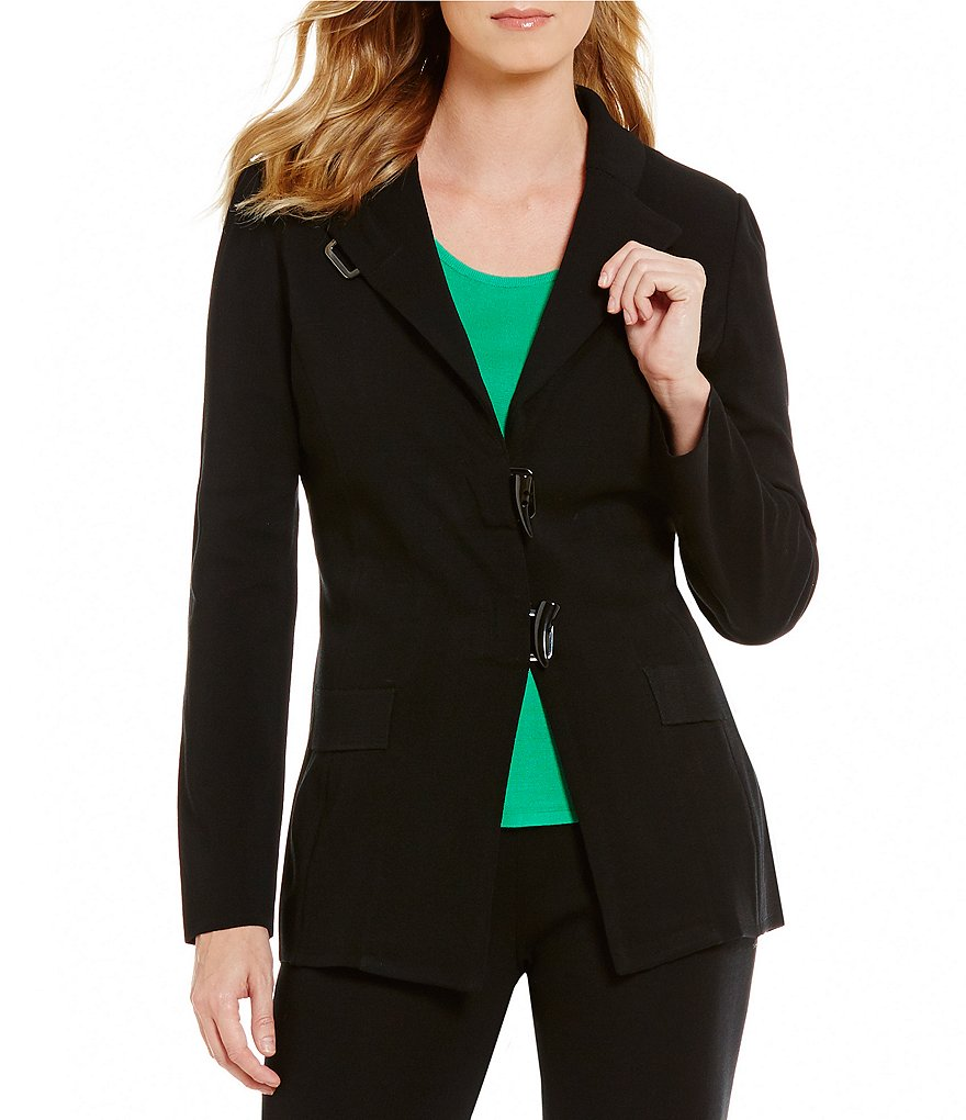 Ming Wang Banded Collar Long Sleeve Toggle Front Solid Jacket