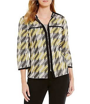 Ming Wang 3/4 Sleeve Zip Front Multi Color Patterned Jacket