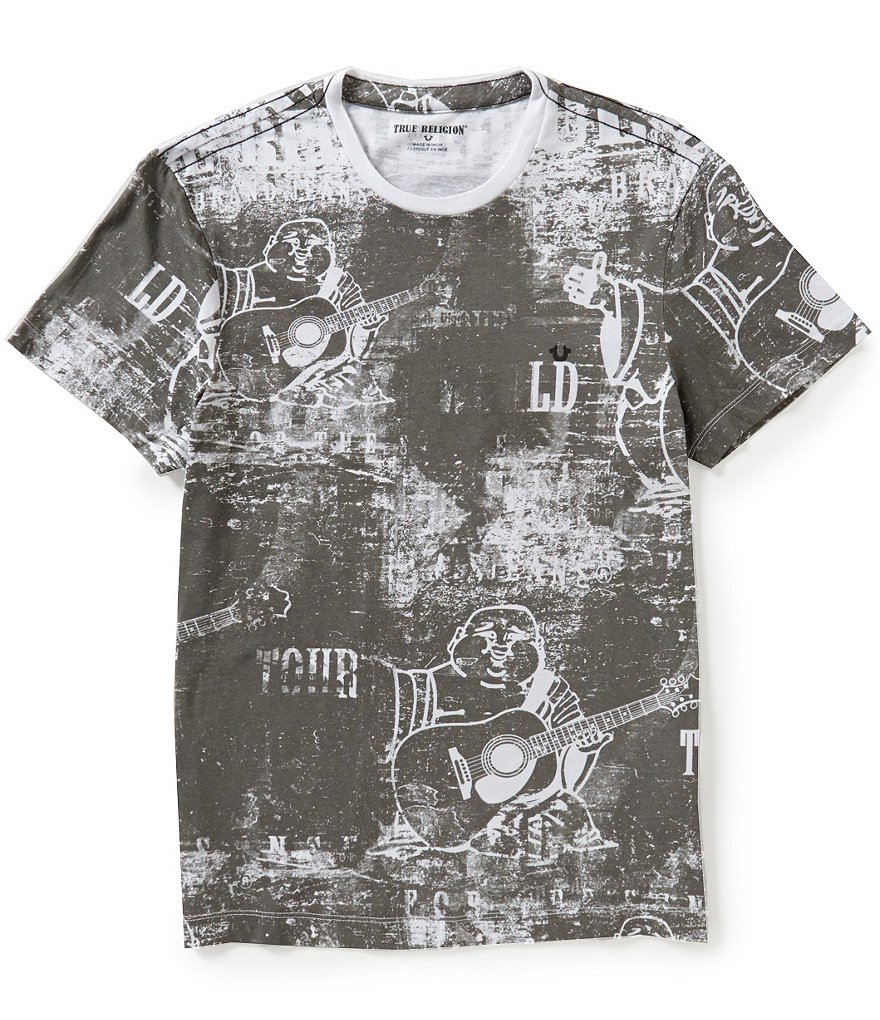 True Religion Short-Sleeve Allover Buddha Graphic Tee