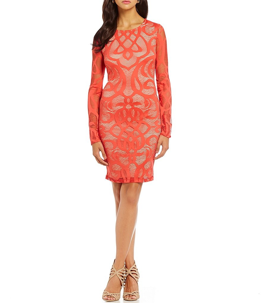 Mystic Illusion Long-Sleeve Patterned Lace Sheath Dress