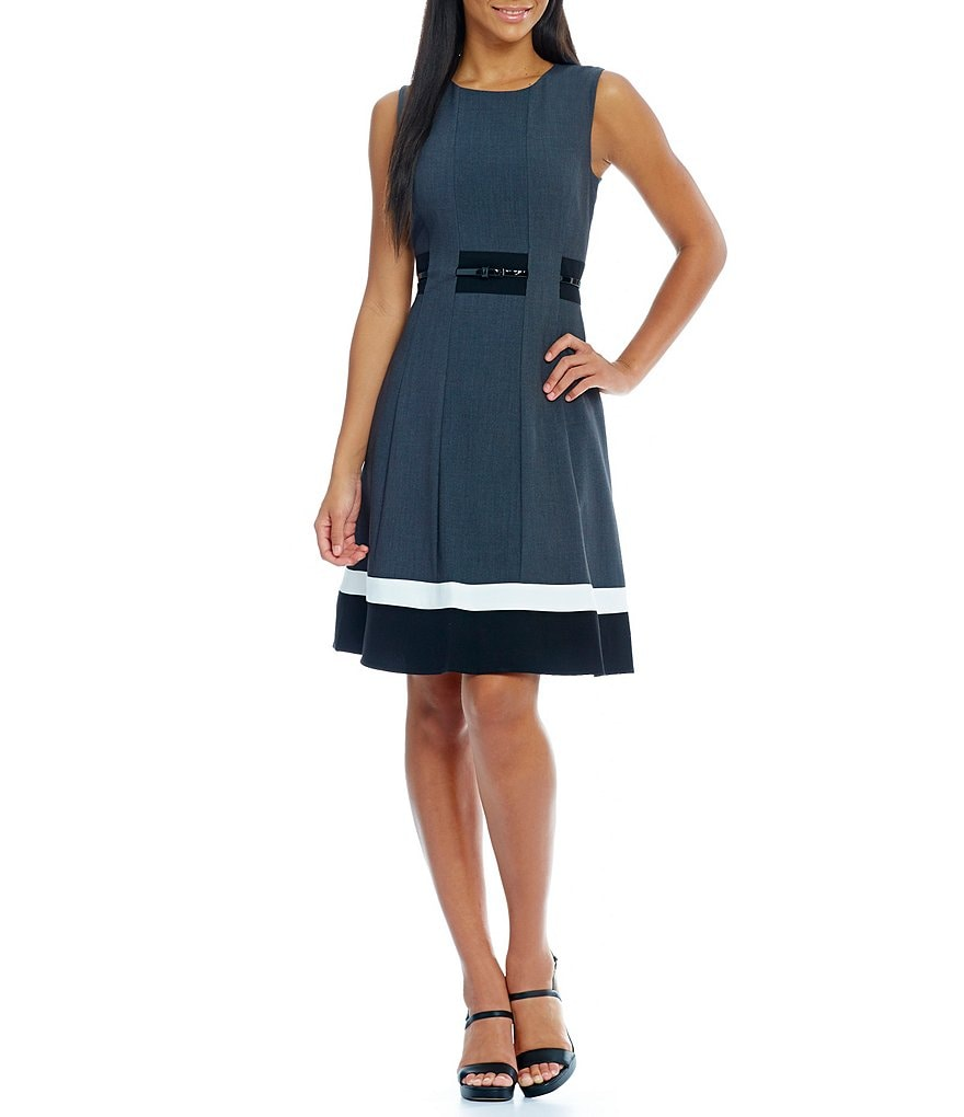 Calvin Klein Sleeveless Belted Colorblock Dress
