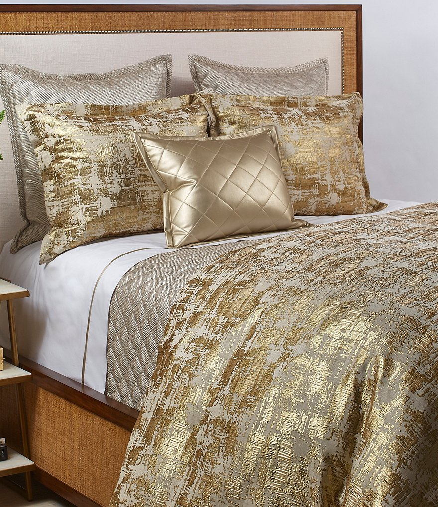 The Art of Home from Ann Gish Scratch Metallic Crosshatched Jacquard Duvet Mini Set