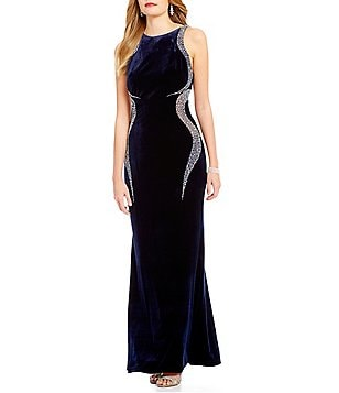 Cachet Caviar Beaded Velvet Gown