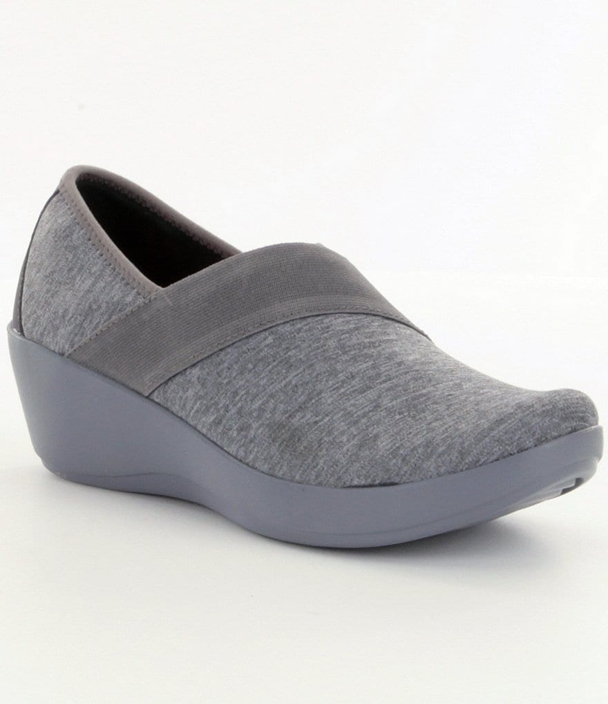 Crocs Busy Day Heathered Asym Wedge Slip On Shoes