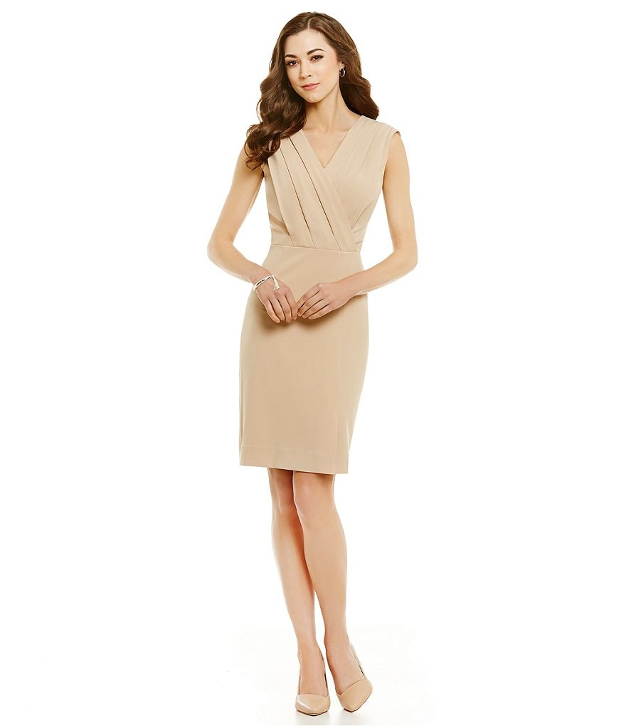 Antonio Melani Mazie Crepe Sleeveless V-Neck Sheath Dress