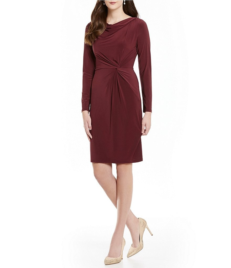 Adrianna Papell Jersey Knot Front Cowl Neck Sheath Dress