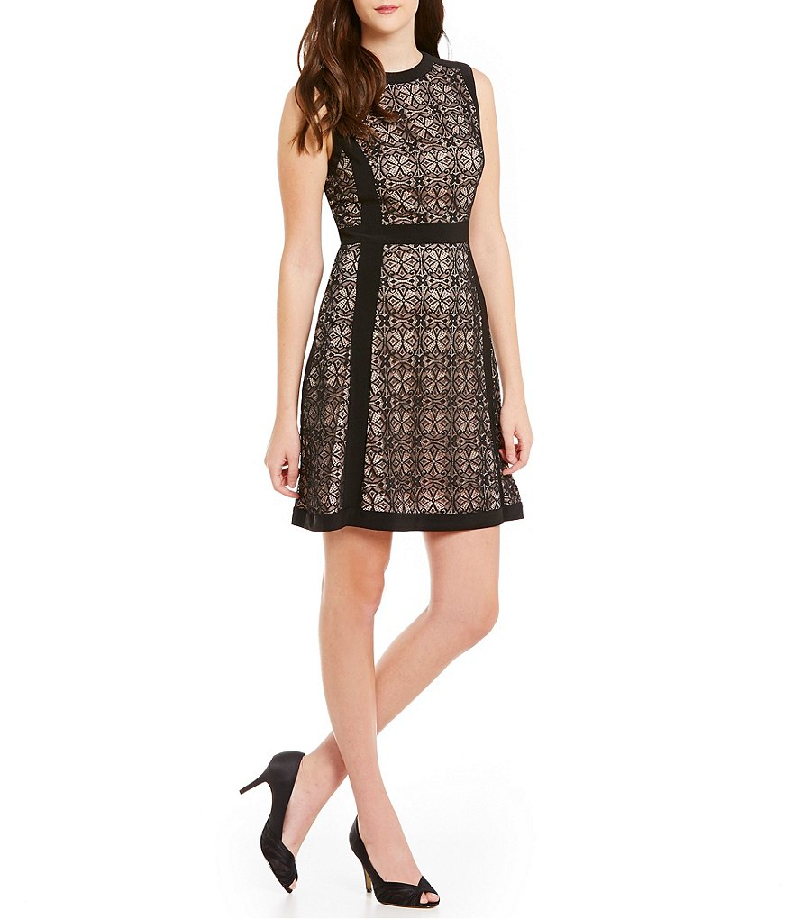 Adrianna Papell Illusion Lace Fit-and-Flare Dress