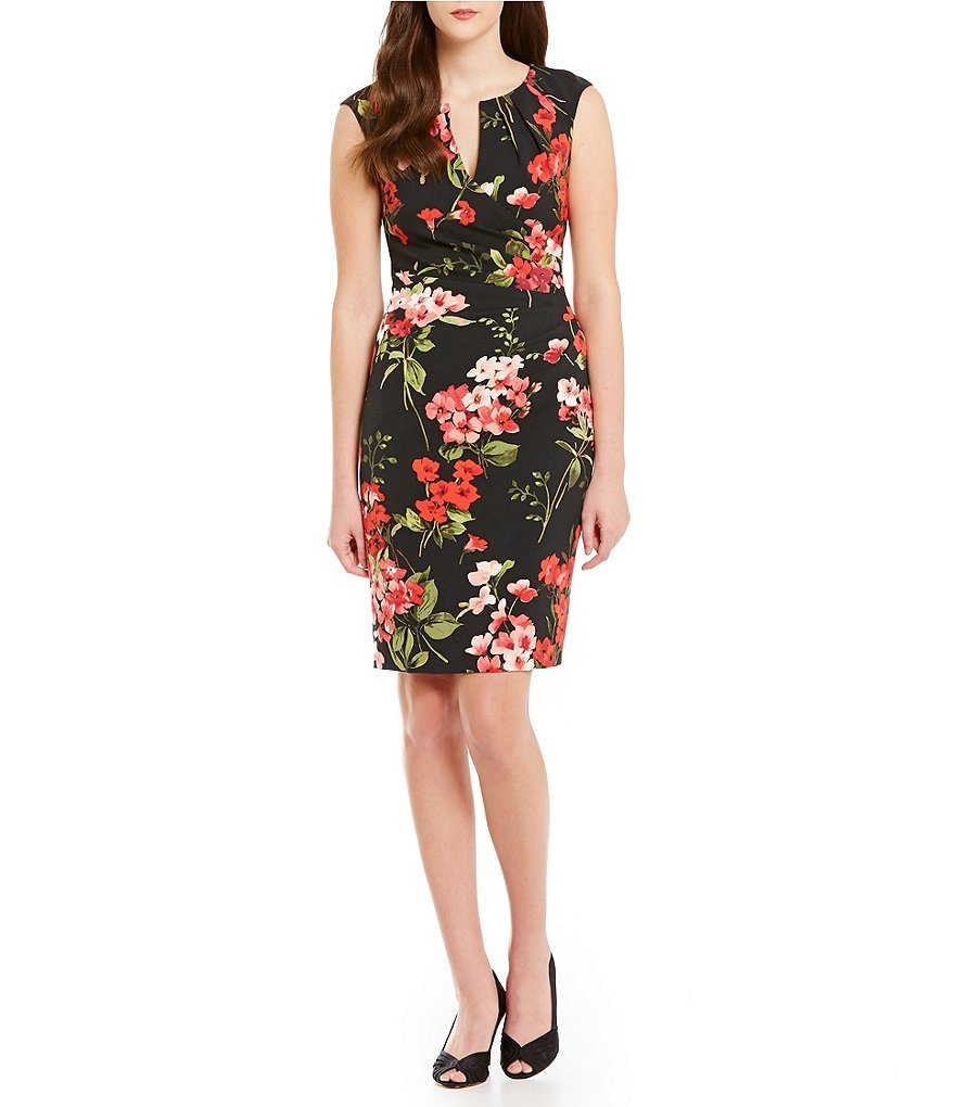 Adrianna Papell Floral Faux Wrap Dress