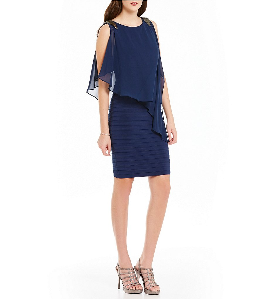 Adrianna Papell Beaded Shoulder Pop-Over Banded Dress
