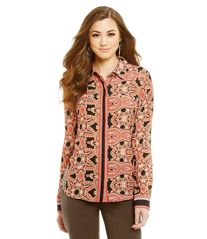 Antonio Melani Lina Printed Long Sleeve Button Front Blouse