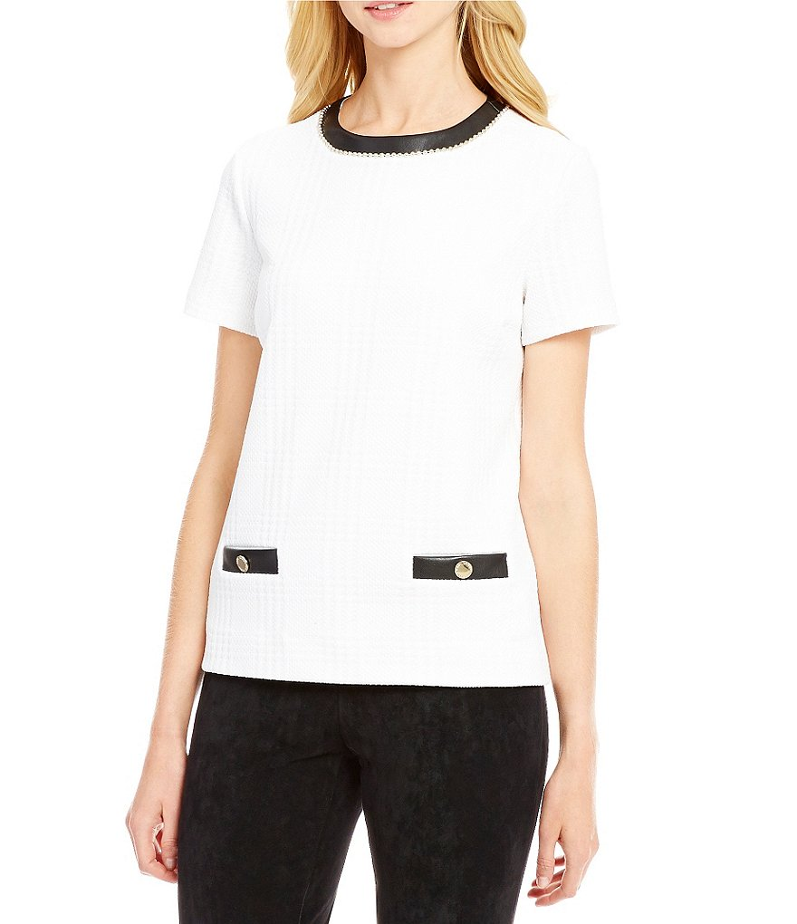 KARL LAGERFELD PARIS Faux Leather Trim Short Sleeve Top