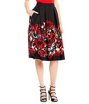 KARL LAGERFELD PARIS Scuba Printed Midi Length Ball Skirt