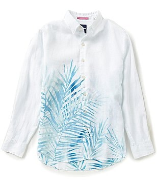 Tommy Bahama Big & Tall Long-Sleeve Fo Rio Fronds Print Woven Linen Shirt