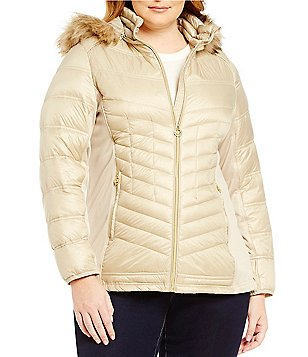 Michael Michael Kors Plus Faux-Fur Hood Chevron Down Packable Coat