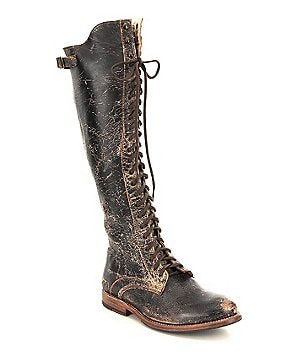 Bed Stu Della Distressed Leather Over The Knee Combat Boots
