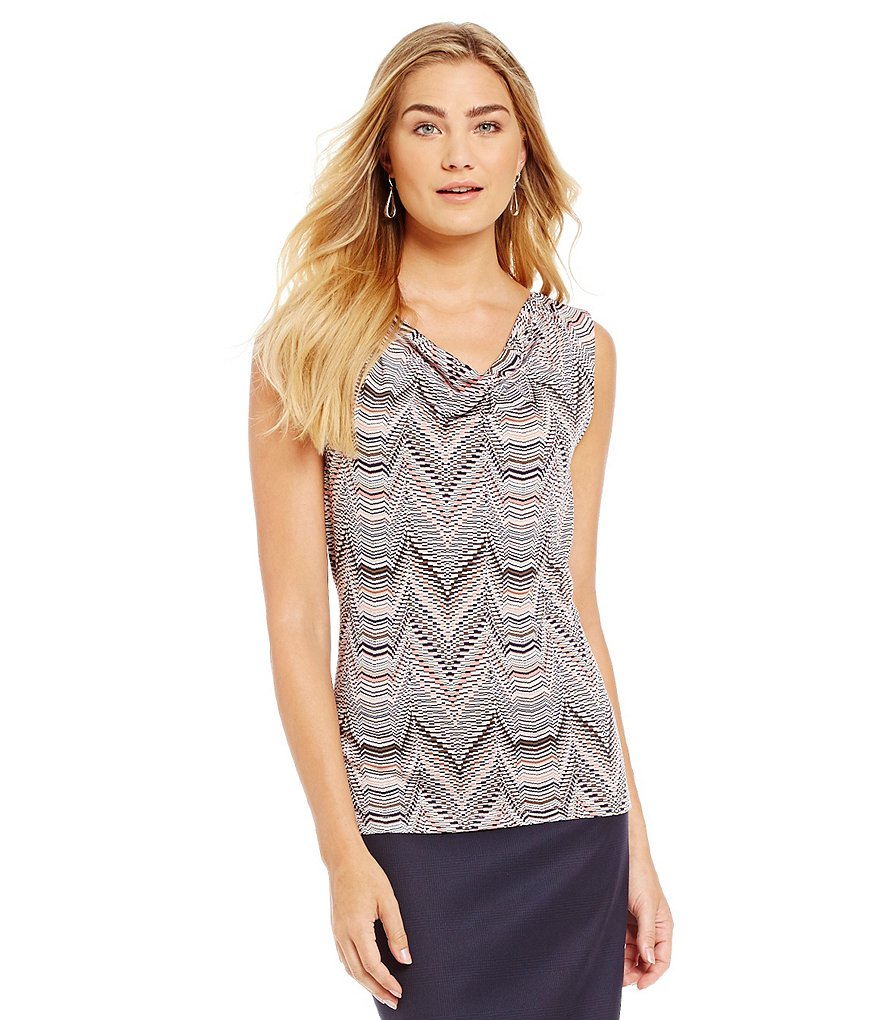 Alex Marie Poetic Presence Bonnie Draped Sleeveless Knit Blouse