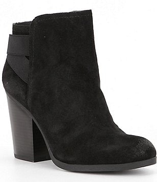 Kenneth Cole Reaction Might Make It Suede Elastic Banded Back Block Heel Booties