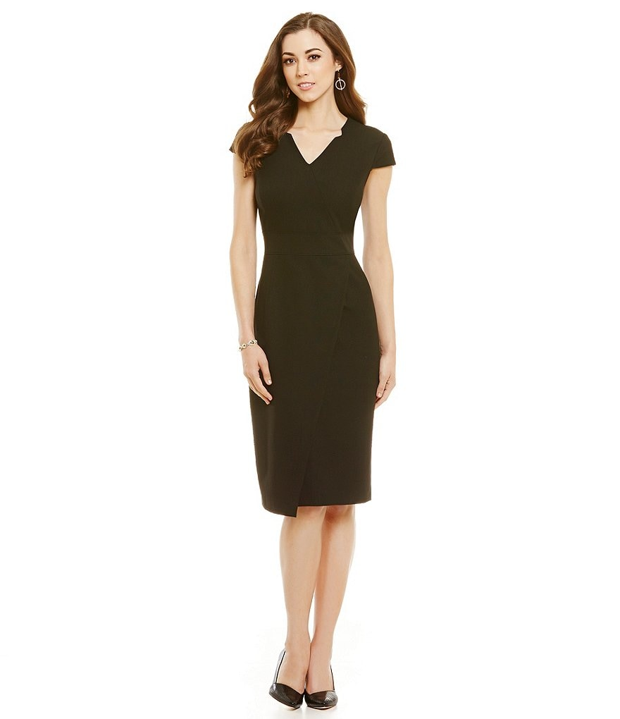 Antonio Melani Berry High Twist Weave/Double Face Sheath Dress