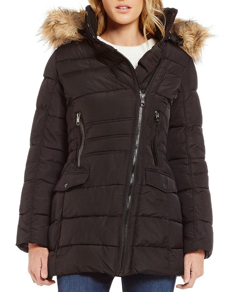 Steve Madden Semi Memory Asymmetrical Quilted Coat With Faux Fur Trim